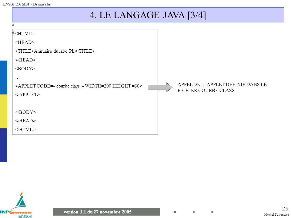 4. LE LANGAGE JAVA [3/4] <HTML> <HEAD>